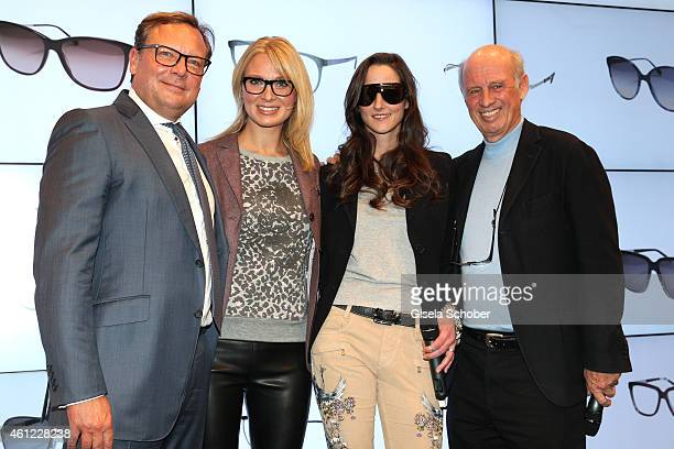 Oliver Kastalio, CEO Rodenstock, Birtta Hofmann, Florinda Bogner and her father Designer Willy Bogner during the Rodenstock & Bogner press conference...