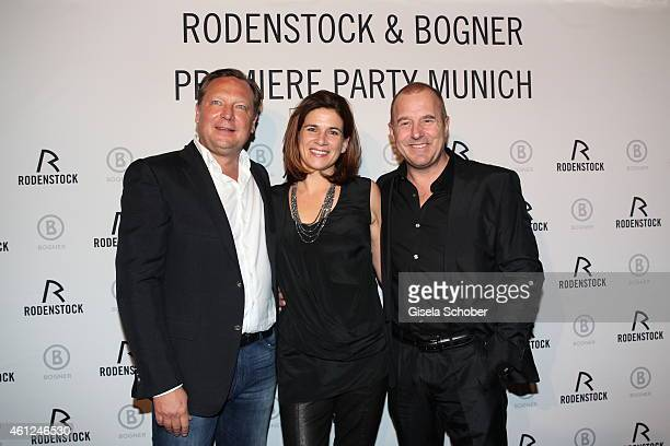 Oliver Kastalio CEO Rodenstock Heino Ferch and his wife Marie Jeanette during the Rodenstock Bogner premiere party at P1 on January 9 2015 in Munich...