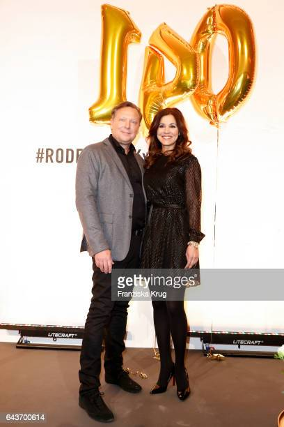 Oliver Kastalio CEO Rodenstock nd Karen Webb attend the Rodenstock Exhibition Opening Event at Museum of Urban and Contemporary Art in Munich on...