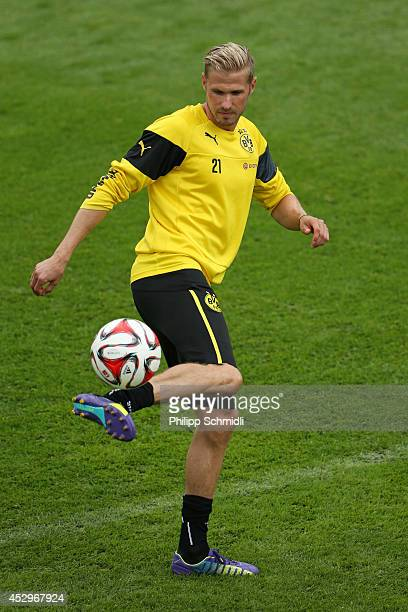 Oliver Kirch juggles the ball during a training session in the Borussia Dortmund training camp on July 31 2014 in Bad Ragaz Switzerland