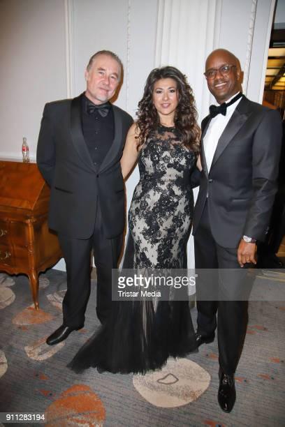 Oliver Kleinfeld, Fernanda de Sousa Dibaba and her husbandYared Dibaba during the press ball Hamburg at Hotel Atlantik on January 27, 2018 in...