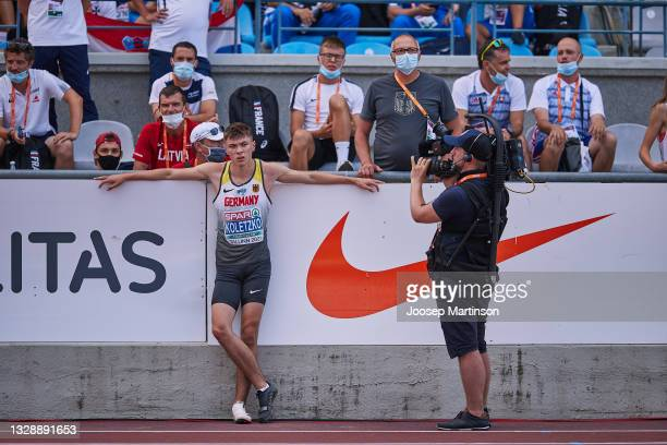 Oliver Koletzko of Germany reacts in the Men's Long Jump qualification during European Athletics U20 Championships Day 1 at Kadriorg Stadium on July...
