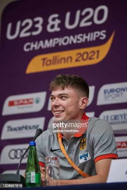 Oliver Koletzko of Germany speaks to the media during the European Athletics U20 Championships press conference at Radisson Blu Hotel Olümpia Tallinn...
