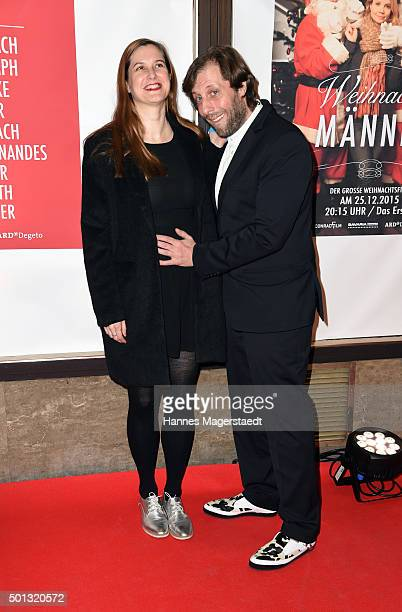 Oliver Korittke and his girlfriend Mirijam Verena Jeremic attend the premiere of the film 'WeihnachtsMaenner' at Sendlinger Tor Kino on December 14...