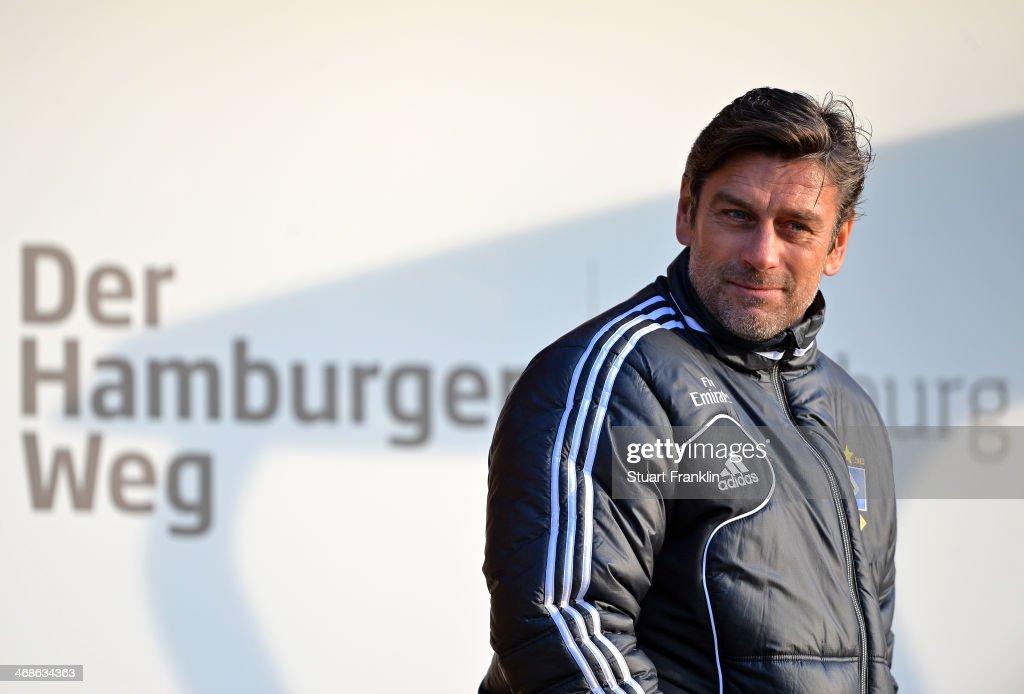 Oliver Kreuzer, sports director of Hamburger SV looks on during the training session of Hamburger SV on February 11, 2014 in Hamburg, Germany.