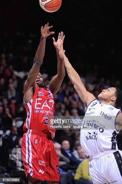 Oliver Lafayette of EA7 competes with Abdul Gaddy of Obiettivo Lavoro during the LegaBasket match between Virtus Obiettivo Lavoro and EA7 Emporio...