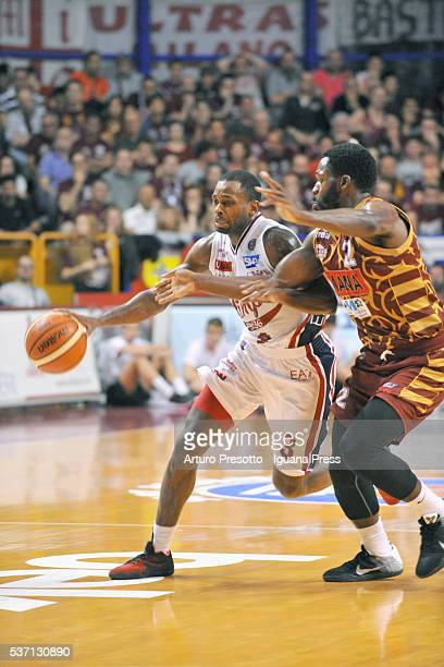 Oliver Lafayette of EA7 competes with Jeremy Pargo of Umana during the LegaBsaket Serie A match between Reyer Umana Venezia and EA7 Emporio Armani...