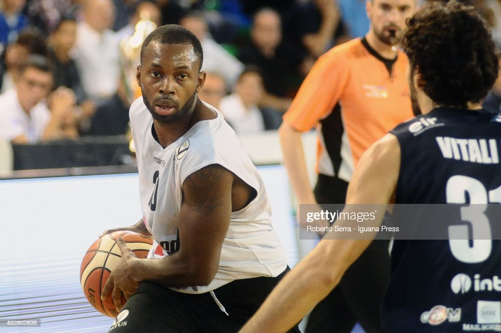 Oliver Lafayette of Segafredo competes with Michele Vitali of Germani during the match between Virtus Segafredo Bologna and Leonessa Germani Brescia of the Roberto Ferrari Basketball Trophy at PalaGeorge on September 23, 2017 in Montichiari, Italy.