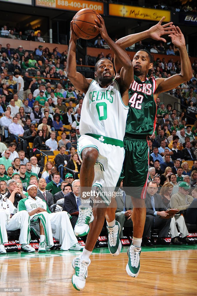 Oliver Lafayette #0 of the Boston Celtics drives to the basket against Charlie Bell #42 of the Milwaukee Bucks on April 14, 2010 at the TD Garden in Boston, Massachusetts.
