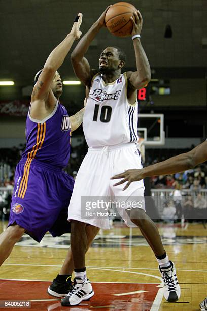 Oliver Lafayette of the Erie BayHawks drives on a Iowa Energy defender at Tullio Arena on December 11 2008 in Erie Pennsylvania The BayHawks defeated...