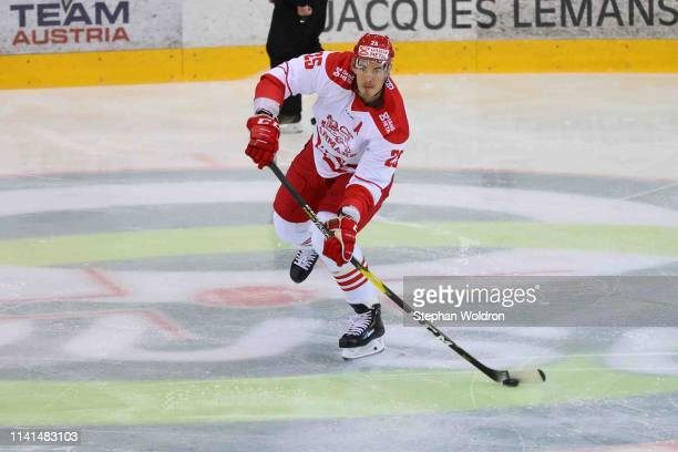 Oliver Lauridsen of Denmark during the Austria v Denmark - Ice Hockey International Friendly at Erste Bank Arena on May 5, 2019 in Vienna, Austria.