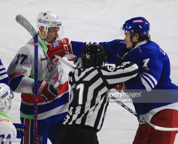 Oliver Lauridsen of Jokerit Helsinki in action against Ilya Kovalchuk of SKA during the KHL Hockey match between Jokerit and SKA at Kaisaniemen park...