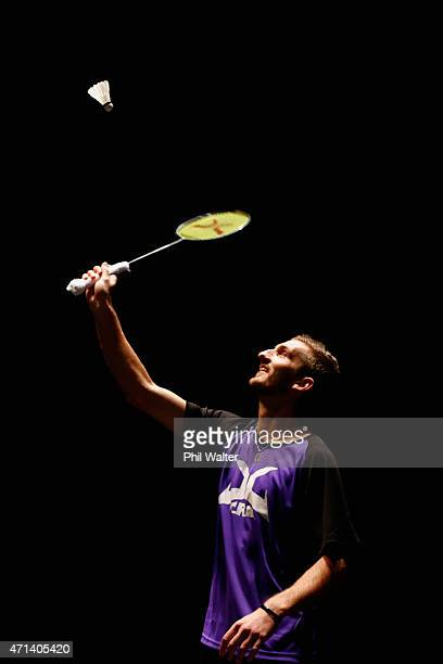 Oliver LeydonDavis of New Zealand plays a return in an exhibition match with Lee Jae Jin of Korea at the Sky City Theatre to open the 2015 Badminton...