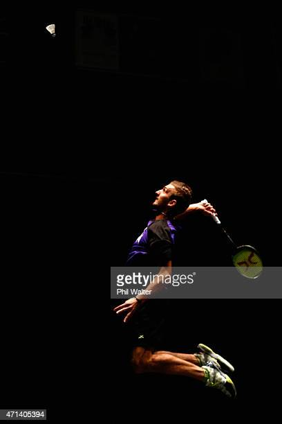 Oliver LeydonDavis of New Zealand plays a return to Lee Jae Jin of Korea in an exhibition match at the Sky City Theatre to open the 2015 Badminton...