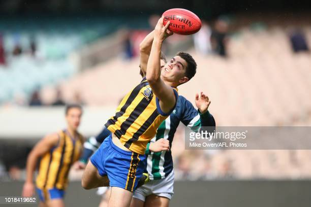 Oliver Liberatore of St Bernard's College marks the ball during the Herald Sun Shield Senior Boys Division 1 Grand Final between St Bernard's College...