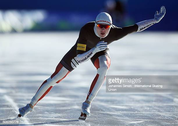 Oliver Lindenskov of Denmark participates in the men 1500 m heats during day 1 of ISU speed skating junior world cup at ice rink Pine stadium on...