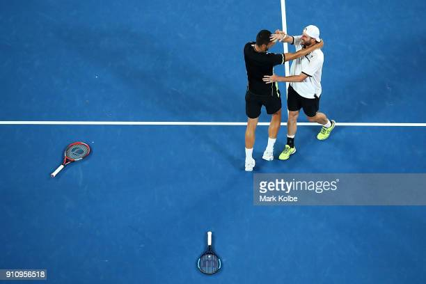 Oliver Marach of Austria and Mate Pavic of Croatia celebrate winning the Men's Doubles Final against Juan Sebastian Cabal of Colombia and Robert...