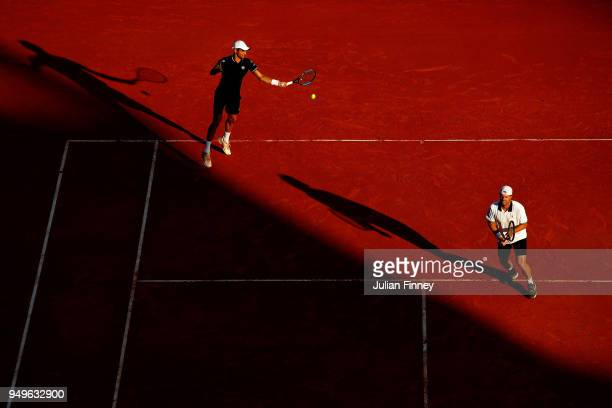 Oliver Marach of Austria and Mate Pavic of Croatia in action against Rohan Bopanna of India and Edouard RogerVasselin of France in the doubles semi...