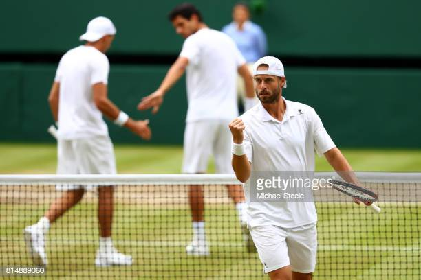 Oliver Marach of Austria celebrates a point during the Gentlemen's Doubles final against Marcelo Melo of Brazil and Lukasz Kubot of Poland on day...