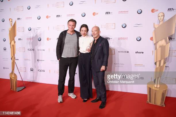 Oliver Masucci Aenne Schwarz and Martin Wuttke attend the nominee dinner for the German Film Award 2019 Lola at BMW Niederlassung Berlin on April 13...