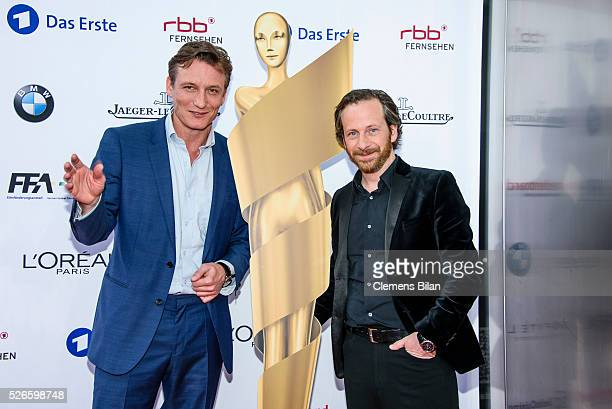 Oliver Masucci and Fabian Busch attend the nominee dinner for the German Film Award 2015 Lola on April 30, 2016 in Berlin, Germany.