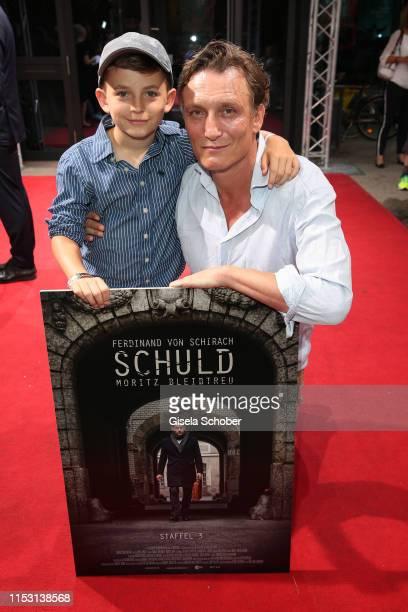 Oliver Masucci and his son Vito Masucci during the Schuld nach Ferdinand von Schirach season 3 premiere at the Munich Film Festival 2019 at HFF on...