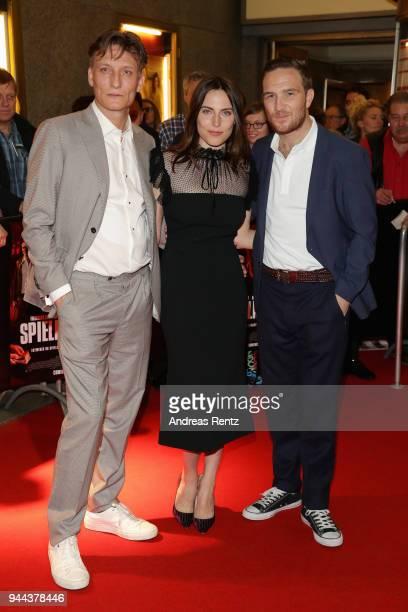 Oliver Masucci Antje Traue and Frederick Lau attend 'Spielmacher' Premiere at Lichtburg on April 10 2018 in Essen Germany