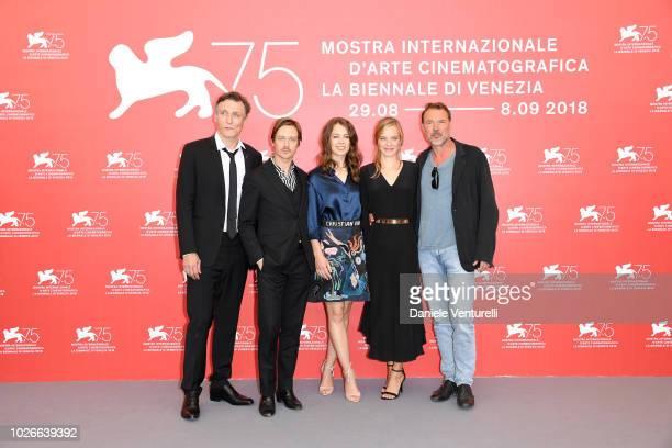 Oliver Masucci, Tom Schilling, Paula Beer, Saskia Rosendahl and Sebastian Koch attend 'Werk Ohne Autor ' photocall during the 75th Venice Film...