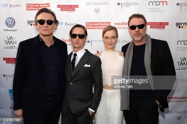Oliver Masucci Tom Schilling Saskia Rosendahl and Sebastian Koch attend the German Oscar reception at The Villa Aurora on February 23 2019 in Pacific...