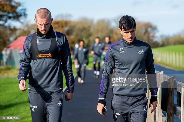 Oliver McBurnie and Jack Cork walk from the gym ahead of the training session at The Fairwood training complex on November 04 2016 in Swansea Wales