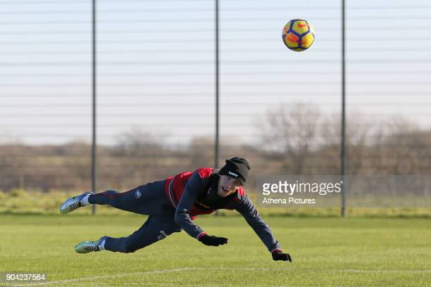 Oliver McBurnie heads the ball during the Swansea City Training at The Fairwood Training Ground on January 11 2018 in Swansea Wales