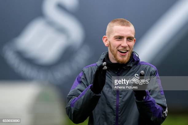 Oliver McBurnie laughs during the Swansea City training session at The Fairwood training Ground on February 03 2017 in Swansea Wales