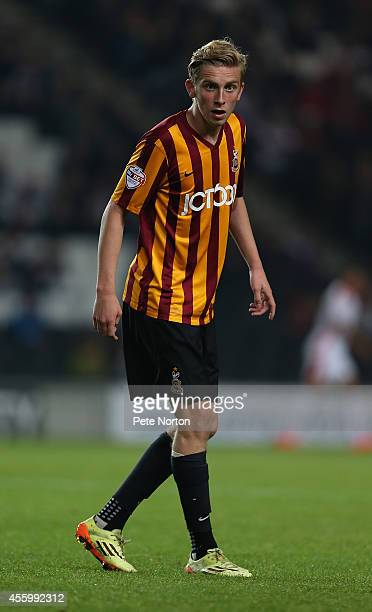 Oliver McBurnie of Bradford City in action during the Capital One Cup Third Round match between MK Dons and Bradford City at Stadium mk on September...