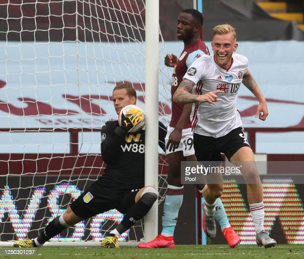 Oliver McBurnie of Sheffield United appeals for a goal which is later denied as Orjan Nyland of Aston Villa catches the ball during the Premier...