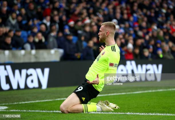 Oliver McBurnie of Sheffield United celebrates after scoring his team's second goal during the Premier League match between Brighton & Hove Albion...