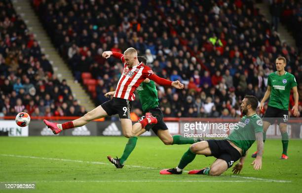 Oliver McBurnie of Sheffield United misses a chance during the Premier League match between Sheffield United and Brighton & Hove Albion at Bramall...