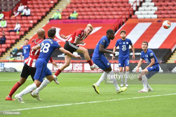 Oliver McBurnie of Sheffield United scores his team's second goal during the Premier League match between Sheffield United and Chelsea FC at Bramall...