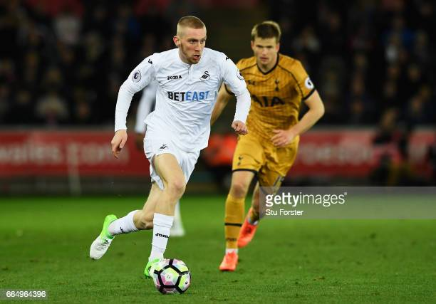 Oliver McBurnie of Swansea City in action during the Premier League match between Swansea City and Tottenham Hotspur at the Liberty Stadium on April...