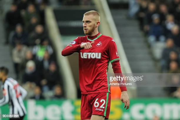 Oliver McBurnie of Swansea City in action during the Premier League match between Newcastle United and Swansea City at St James' Park on January 13...