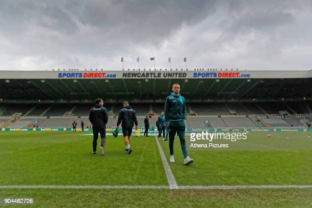 Oliver McBurnie of Swansea City walks off the pitch prior to the game during the Premier League match between Newcastle United and Swansea City at St...
