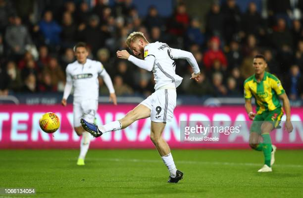 Oliver McBurnie of Swansea scores to make it 10 during the Sky Bet Championship match between Swansea City and West Bromwich Albion at the Liberty...