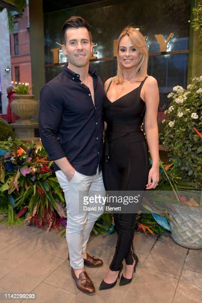 Oliver Mellor and Rhian Sugden attend The Ivy Spinningfields Manchester Super Party on April 12 2019 in Manchester England