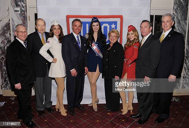Oliver Mendell Cort Mallar Linda Parker Hudson Patrick Condren and Michael Hallissy pose with the Liberty Bells at the USO 45th Annual Woman Of The...