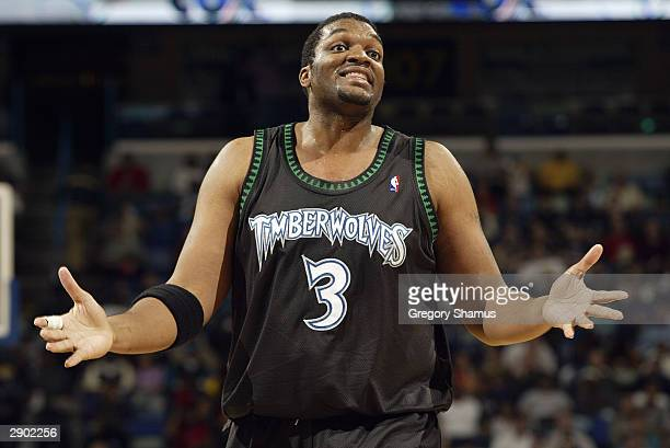 Oliver Miller of the Minnesota Timberwolves during the game against the New Orleans Hornets on January 13 2004 in New Orleans Louisiana The...