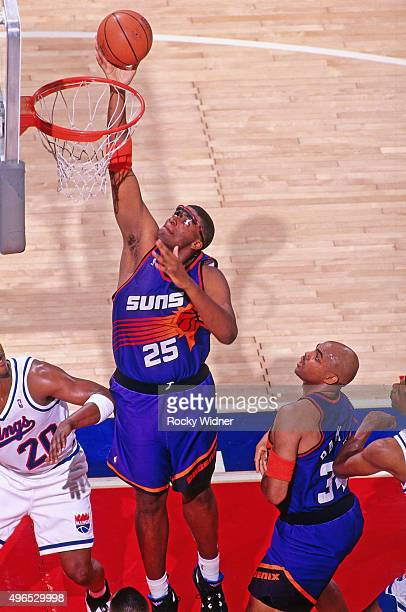 Oliver Miller of the Phoenix Suns shoots against the Sacramento Kings circa 1993 at Arco Arena in Sacramento California NOTE TO USER User expressly...