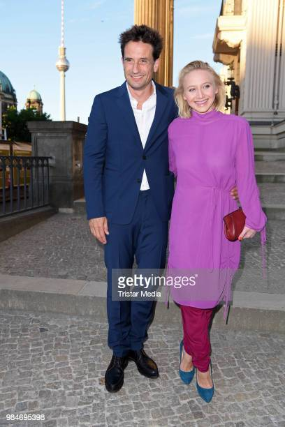 Oliver Mommsen and Anna Maria Muehe attend the BURDA Summer Party on June 26 2018 in Berlin Germany