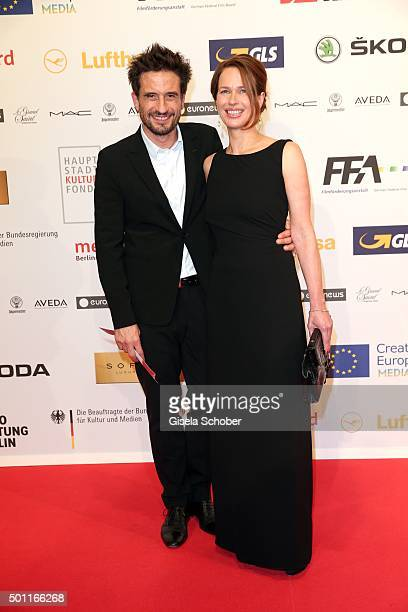 Oliver Mommsen and his wife Nicola Mommsen during the European Film Awards 2015 at Haus Der Berliner Festspiele on December 12 2015 in Berlin Germany