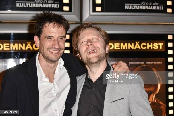 Oliver Mommsen and producer Adrian Topol during the premiere 'Die Haut der Anderen' at Kino in der Kulturbrauerei on April 13 2018 in Berlin Germany