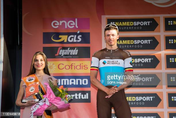 Oliver Naesen of AG2R La Mondiale seen on the podium during the 110th edition of Milan Sanremo cycling race