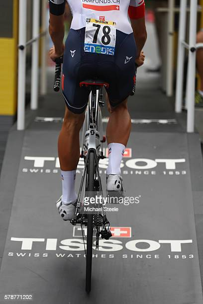 Oliver Naesen of Belgium and IAM Cycling arrives at the starting gate during the 17km Individual Time Trial stage eighteen of Le Tour de France from...